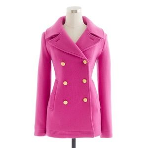 J. Crew pink peacoat with gold buttons